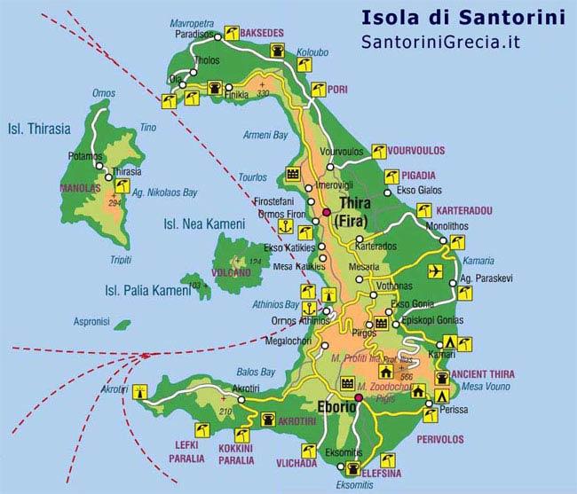 Santorini in nave collegamenti e traghetti per grecia e isole mappa dellisola altavistaventures Image collections
