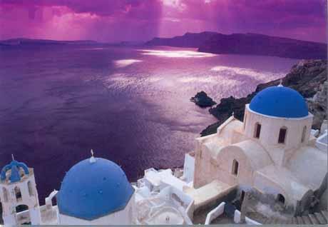 Cartolina di Santorini al tramonto